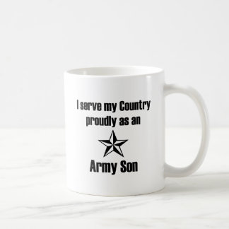 Servicio del hijo del ejército orgulloso taza básica blanca