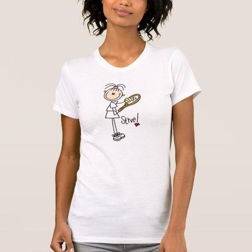 Servicio del jugador de tenis del chica camisetas