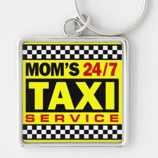 Servicio del taxi de la mamá llavero cuadrado plateado