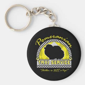 Servicio del taxi de Pomeranian Llavero Redondo Tipo Pin
