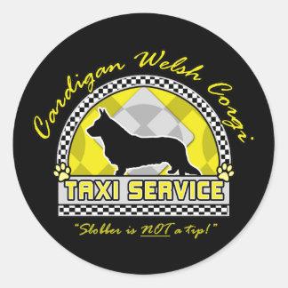 Servicio del taxi del Corgi Galés de la rebeca Etiquetas Redondas