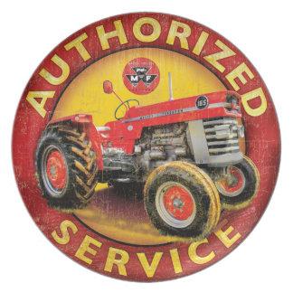 servicio del tractor de ferguson del massey platos para fiestas