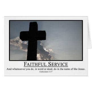 Servicio fielmente en nombre de 3:17 del Col. de J Felicitaciones