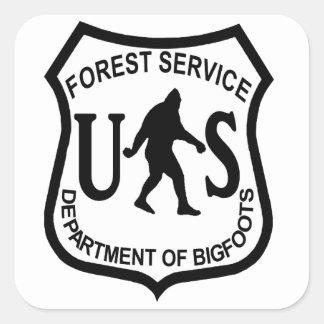 Servicio Forestal de Bigfoot los E.E.U.U. Pegatina Cuadrada
