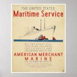 Servicio marítimo - nave grande con los remolcador poster