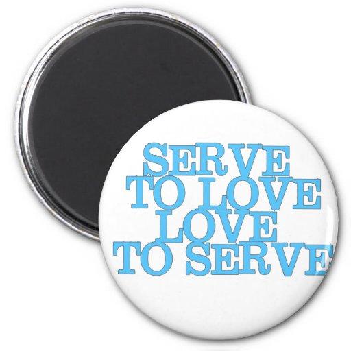 Servicio para amar amor para servir (letras azules imanes para frigoríficos