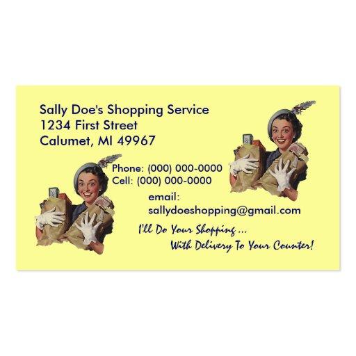 Servicio retro de las compras de la tarjeta de tarjetas de visita