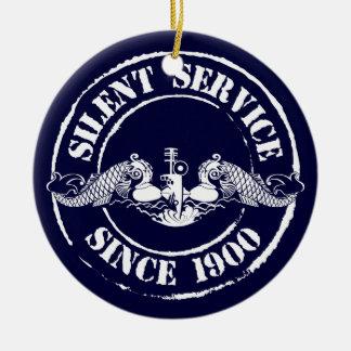Servicio silencioso adorno navideño redondo de cerámica