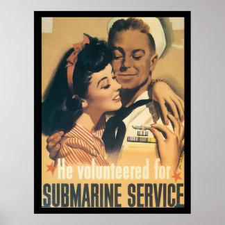 Servicio submarino WWII Póster