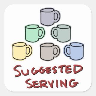 Servicio sugerido - humor del café calcomania cuadradas