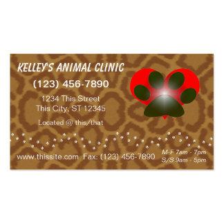 servicios animales profesionales del color de la tarjetas de visita