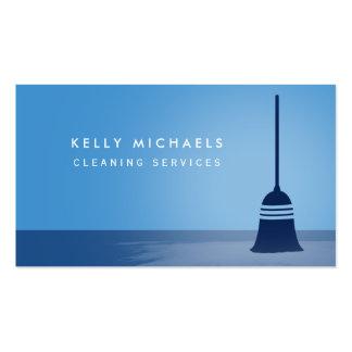 Servicios elegantes de la limpieza de la escoba tarjetas de visita