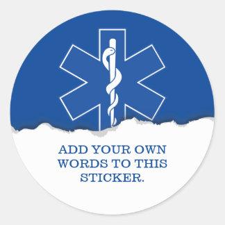 Servicios médicos de la emergencia de encargo pegatina redonda
