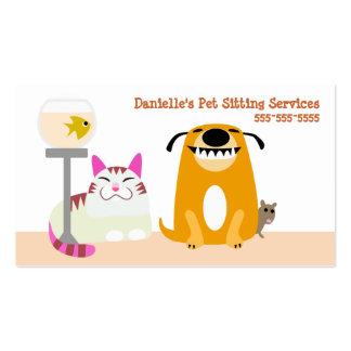Servicios que se sientan del mascota tarjetas de visita