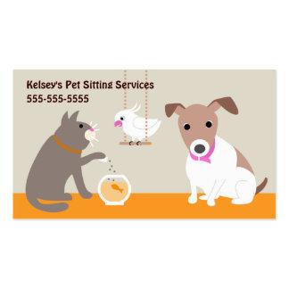Servicios que se sientan del mascota plantillas de tarjeta de negocio