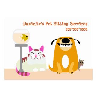 Servicios que se sientan del mascota tarjetas de visita grandes