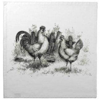 Servilleta agrícola antigua del gallo y de la gall