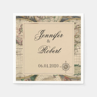 Servilleta antigua del boda del mapa de Viejo Servilletas Desechables