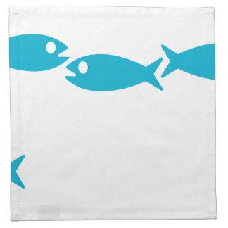 servilleta azul del adorno de los pescados