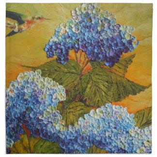 Servilleta azul del Hydrangea y del colibrí