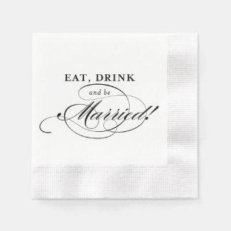 Servilleta de Cockail: Coma, bebida y esté casado Servilleta De Papel