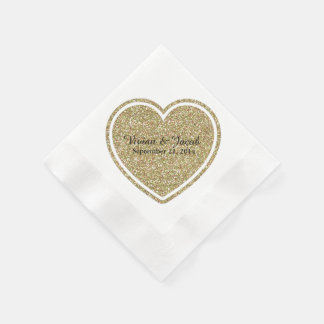 Servilleta de encargo del boda del corazón de oro servilletas de papel