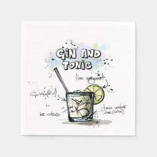Servilleta de la ginebra y del cóctel de la receta servilleta de papel