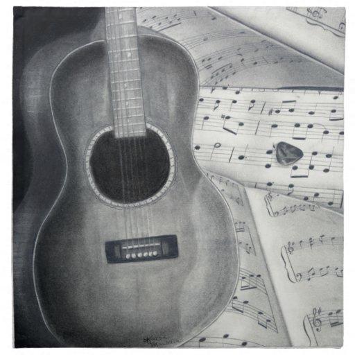Servilleta de la guitarra y de la partitura