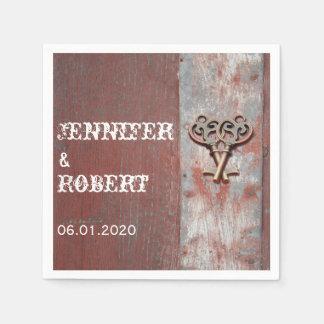 Servilleta de madera pintada país rústico del boda servilleta de papel