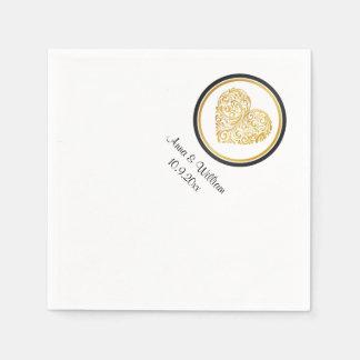 Servilleta de oro del diseño del corazón servilleta desechable