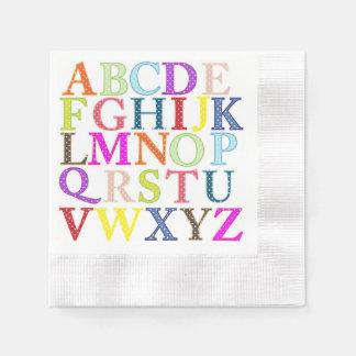 Servilleta de papel del alfabeto