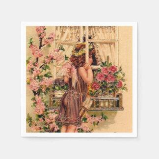 Servilleta de papel del ángel hermoso del vintage