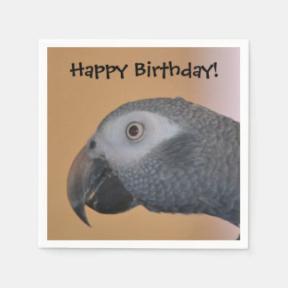 Servilleta de papel del loro del feliz cumpleaños