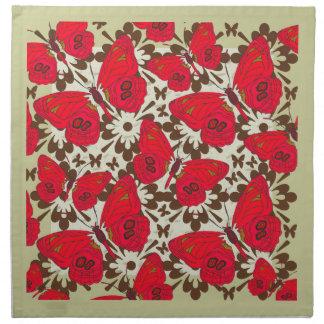 Servilleta de tabla roja de mariposas