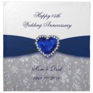 Servilleta del aniversario de boda del damasco 45.