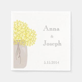 Servilleta del boda del amarillo del tarro de servilletas de papel