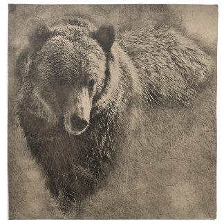 Servilleta del paño con el ejemplo del oso grizzly