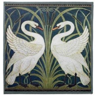Servilleta del papel pintado del cisne y de la pre