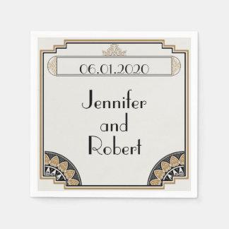 Servilleta elegante del boda del oro del art déco servilleta de papel