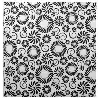 Servilleta floral blanco y negro