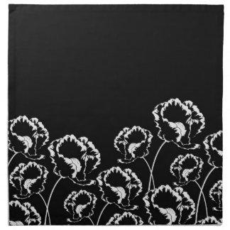 Servilleta floral del negro de la amapola