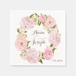 Servilleta floral romántica del boda de la servilletas de papel