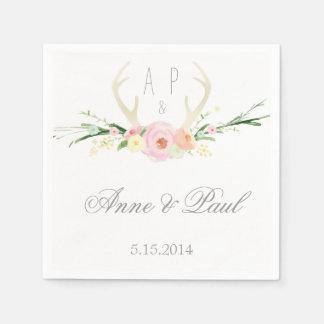 Servilleta floral rosada del boda de las astas servilletas desechables