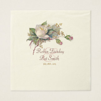 Servilleta grande de la acuarela de los rosas servilleta de papel