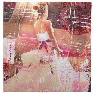 servilleta grande del paño rosado que espera