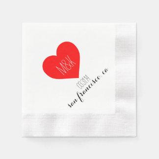 Servilleta inicial del cóctel del boda del corazón servilleta desechable