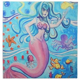 Servilleta rosada de la sirena del Tailfin