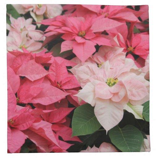 Servilleta rosada del ramo de los Poinsettias