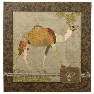 Servilleta soñadora del monograma del camello