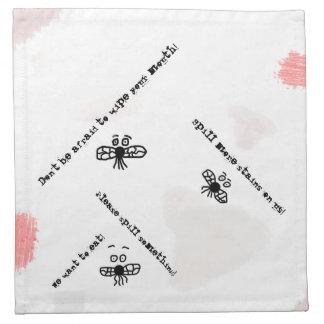 Servilleta sucia con las moscas